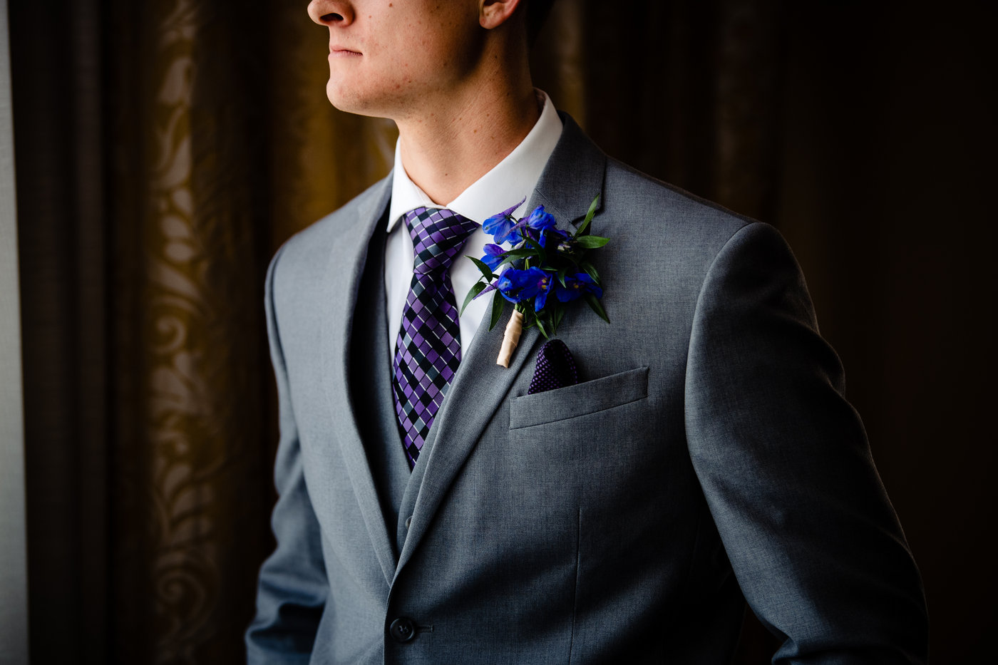 groom with his Modern boutonniere