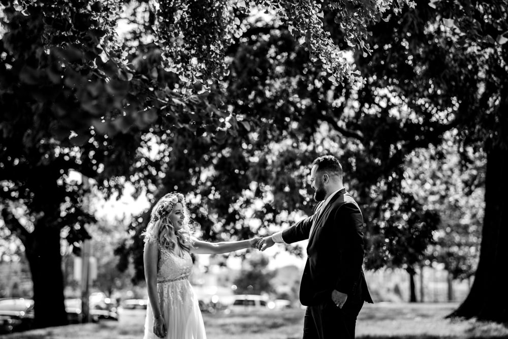 Black and White portrait taken downtown columbus ohio by seth and Beth wedding photography