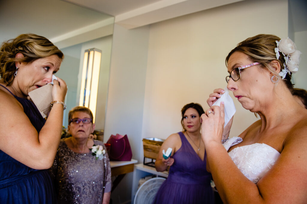 crying bride at Oak Grove Jorgensen Farms