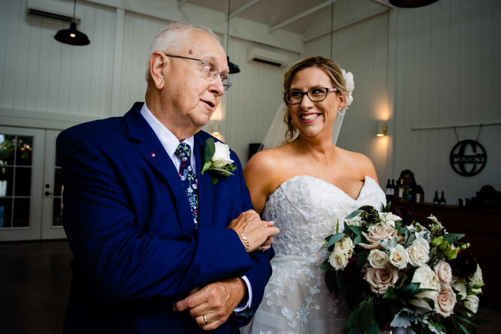 bride and father at Oak Grove Jorgensen Farms