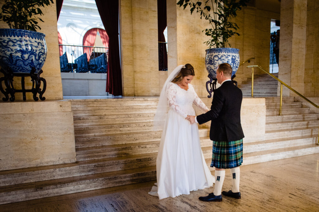 first look at Columbus Art Museum Wedding
