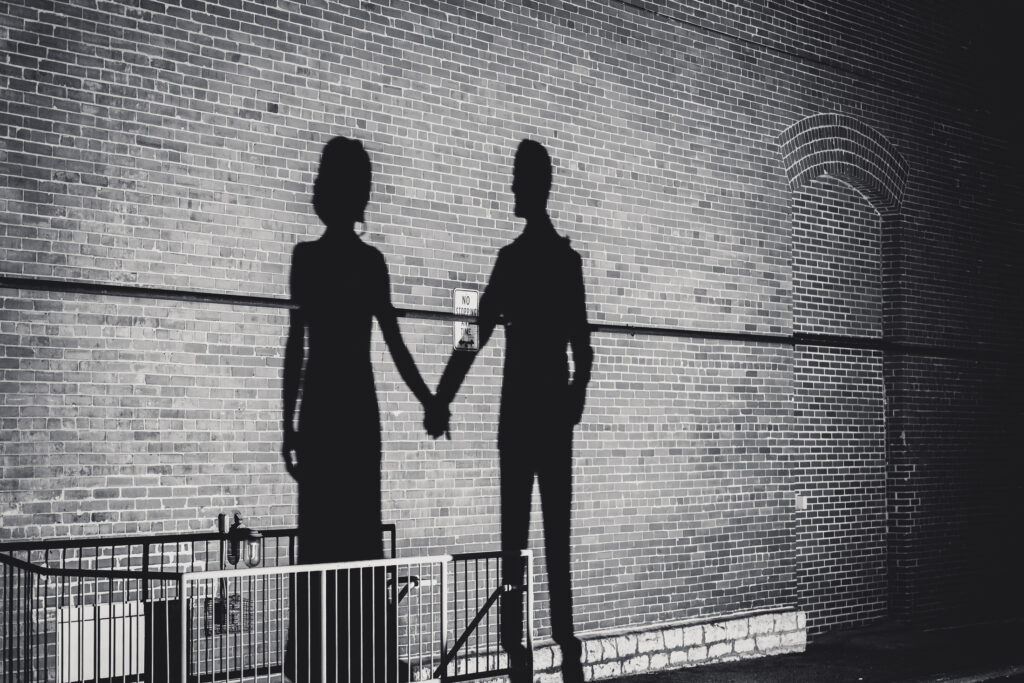 Couple holding hands shadow at columbus ohio westin wedding