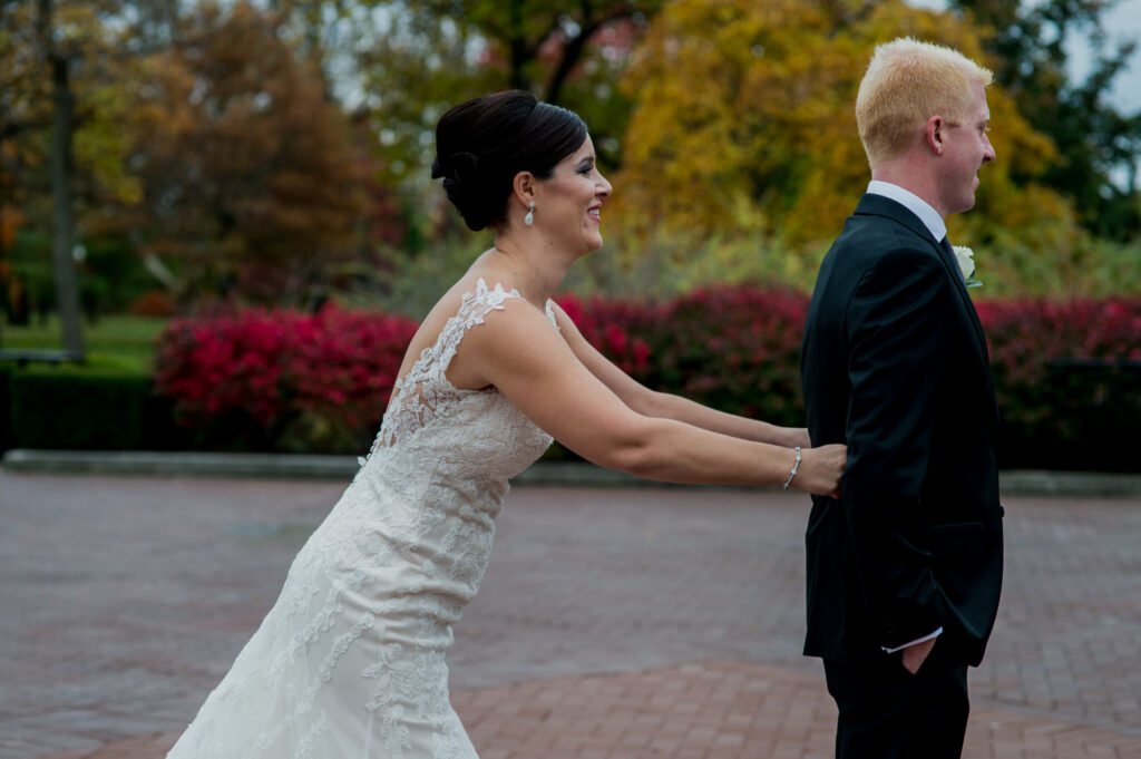 first look at dress at Franklin Park Conservatory Wedding