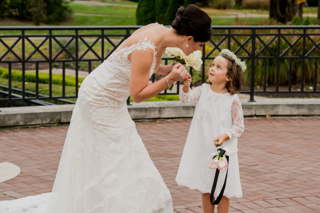bride and flower girl at Franklin Park Conservatory Wedding