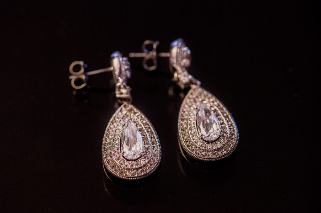 earrings at Franklin Park Conservatory Wedding