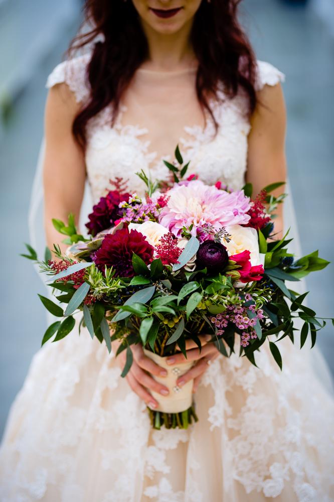 Flowers at Spring Wells Barn Wedding