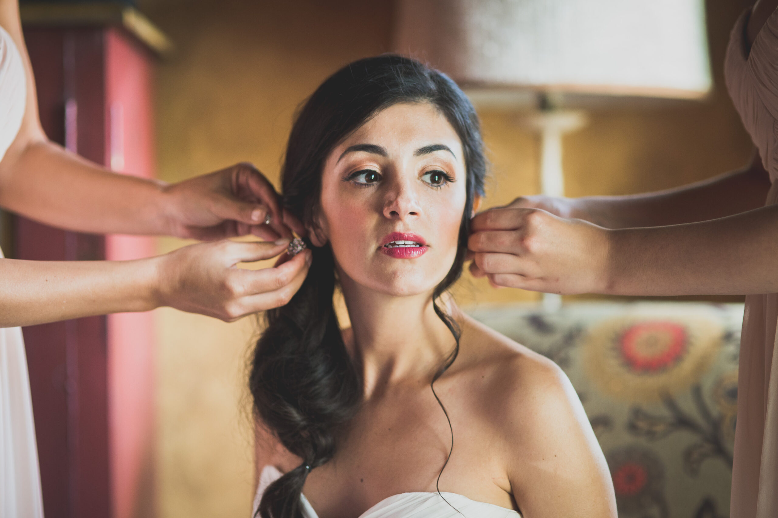 A Gervasi Vineyard Bride getting ready in Canton, Ohio