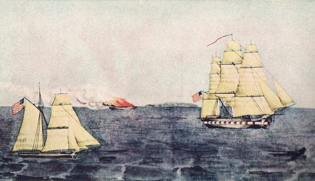 The USS Dale (r) and the schooner Libertad, after the capture of the Mexican ship Magdalena, during the Mexican War. Painted by William H. Mayer, a gunner on the Dale. This image is in the public domain