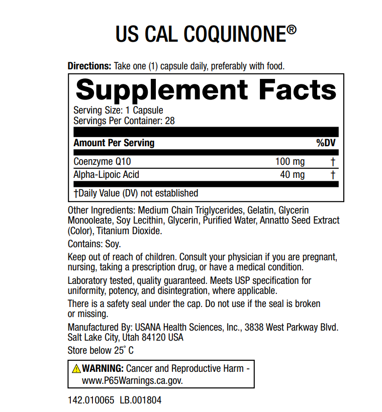 CoQuinone 100 Supplement Facts