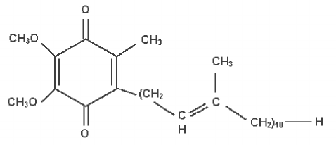 Chemical structure of coenzyme Q10.