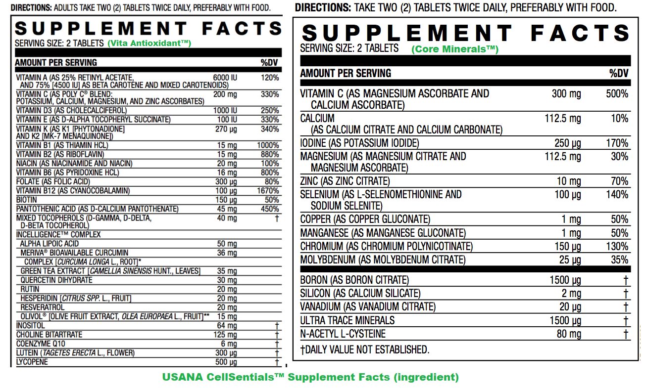 USANA CellSentials supplement facts