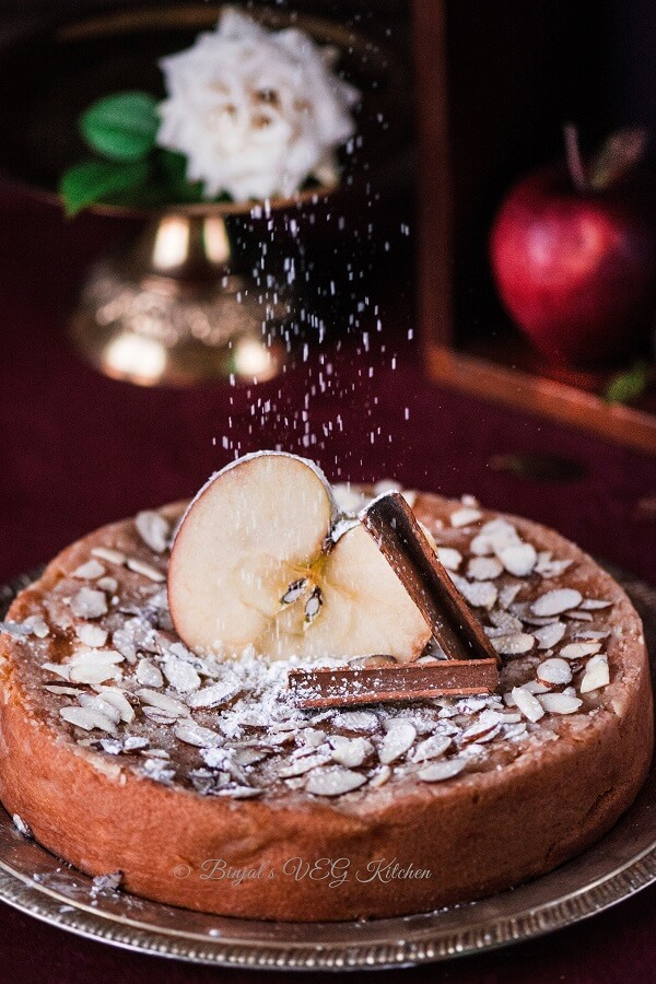 Eggless Cinnamon Apple Cake Photography