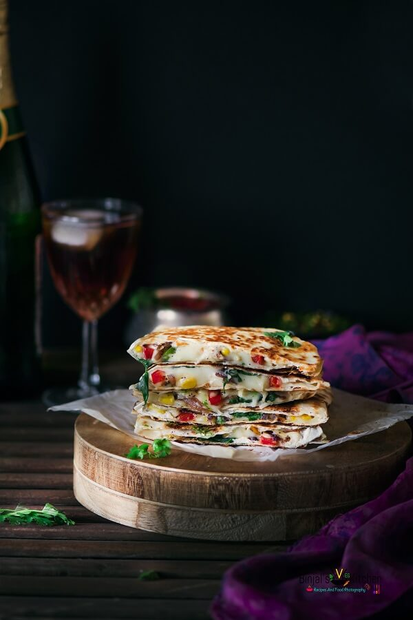 Veggie Cheesy Corn Quesadilla Photography