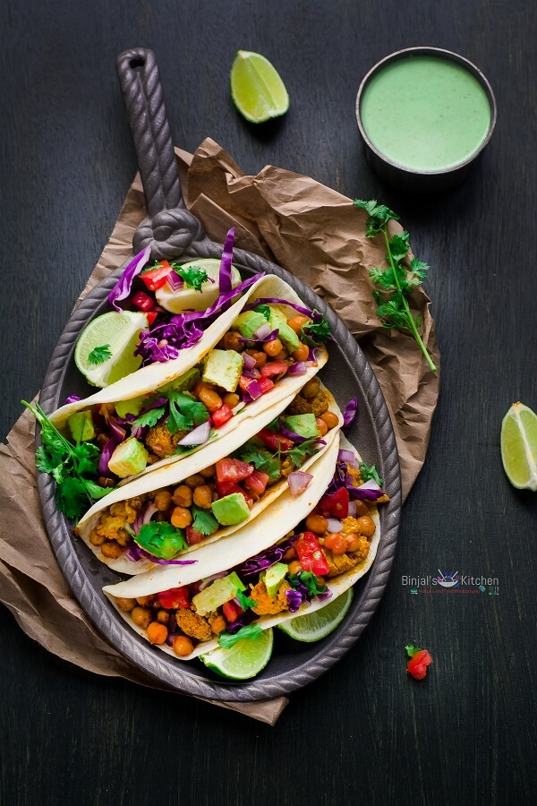 Roasted Chickpeas and Cauliflower Tacos Photography