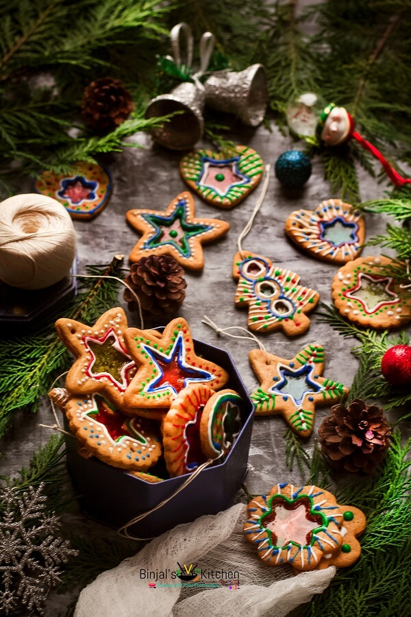 Eggless Stained Glass Ginger Cookies