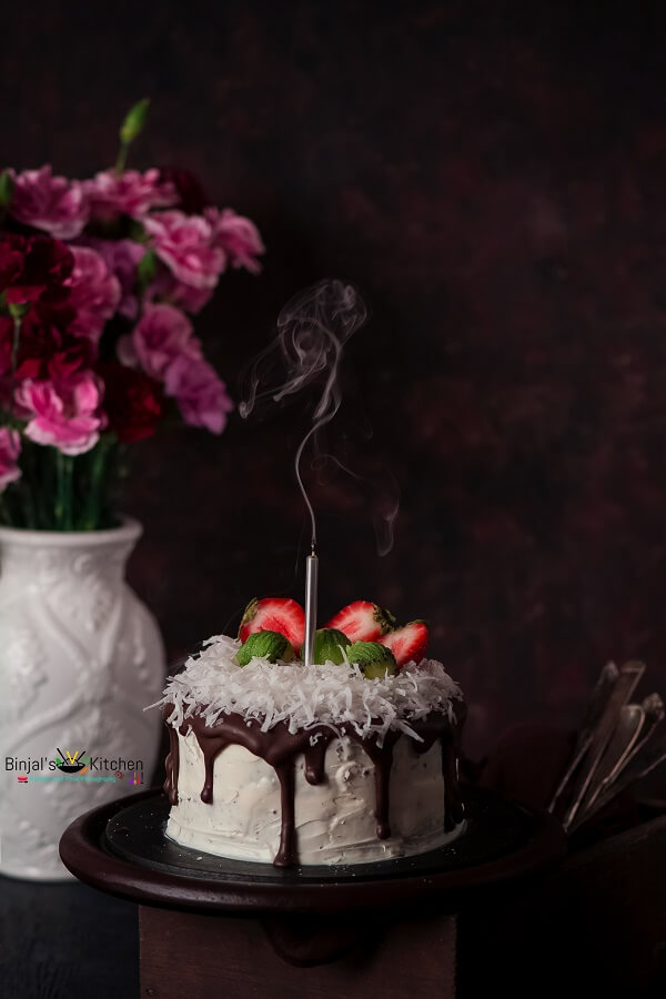 Eggless Coconut Chocolate Cake