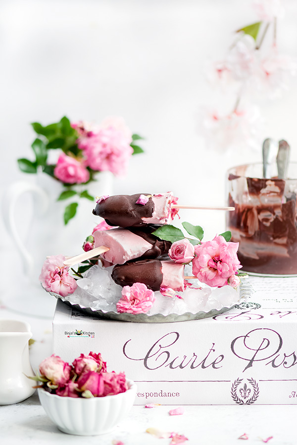 Chocolate Covered Rose Popsicles