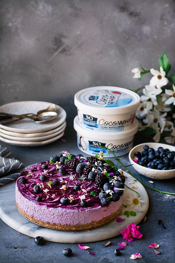 No-bake vegan blueberry cheesecake
