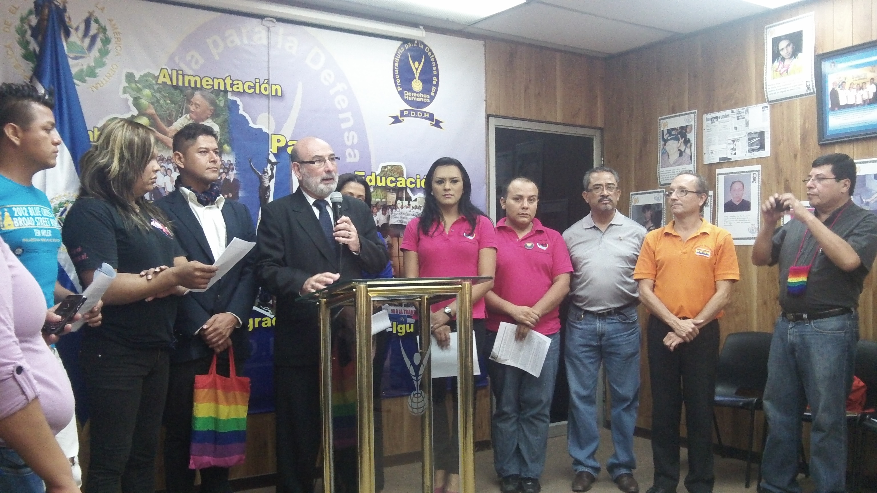 Former Human Rights Ombudsman Oscar Luna and sexual diversity activists give a press conference about impunity in assassinations of LGBTQ individuals on May 17, 2013. Photo source: Danielle Marie Mackey