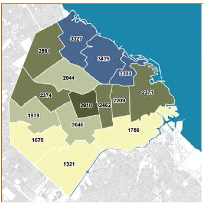 Figure 1: Average incomes in Districts of Buenos Aires (Monthly, in Argentine Pesos, with darker colors representing higher incomes) Source: Buenos Aires City Government - http://www.ssplan.buenosaires.gov.ar/MODELO%20TERRITORIAL/WEB/modelo_territorial.html