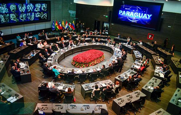 La inauguración de la nueva sede de la Unión  de Naciones Suramericana. http://www.unasursg.org/sites/default/files/unasur%20trabajara%20por%20la%20paz%20y%20justicia.png