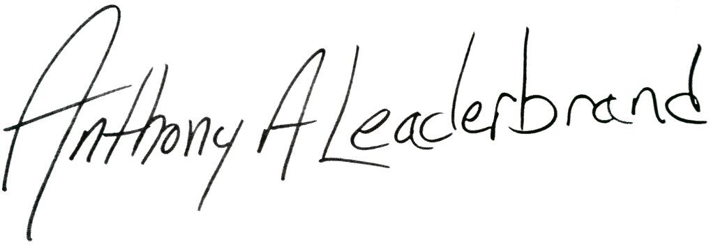 Signature of business partner Anthony Leaderbrand