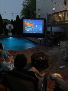 Backyard Movie Screening at night