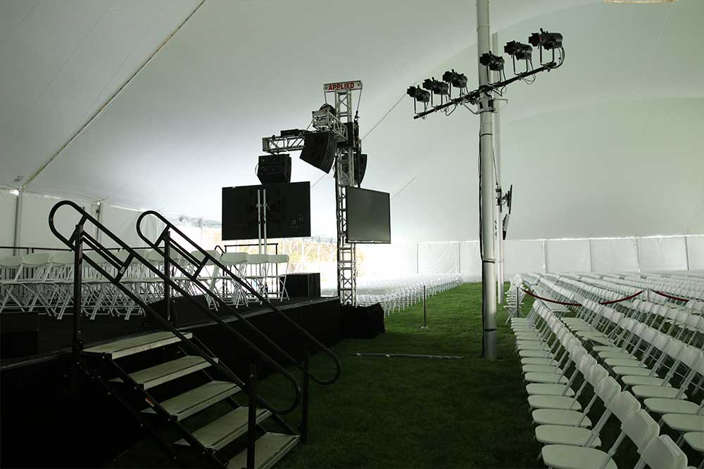 Outdoor Graduation And Commencement Ceremonies with enclosure, lights, seets and screens