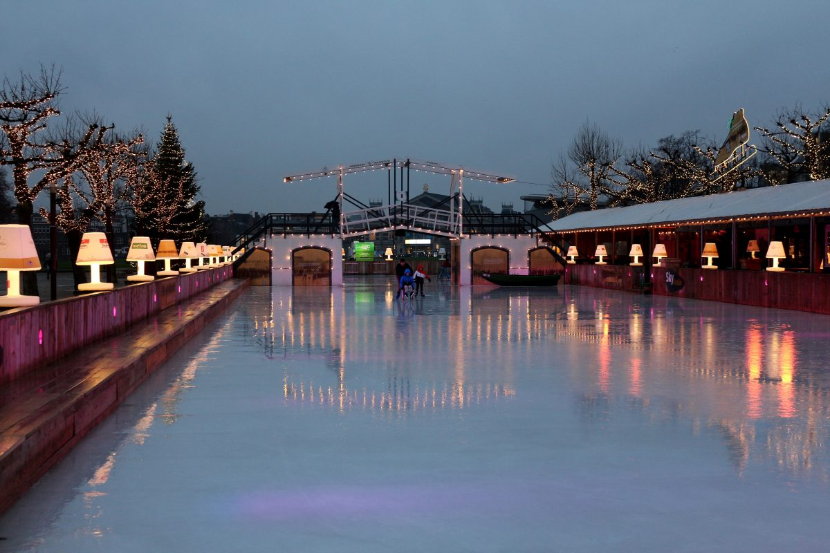 Ice skating is a wonderful wintertime activity in Amsterdam. You can ice skate at Museumplein.
