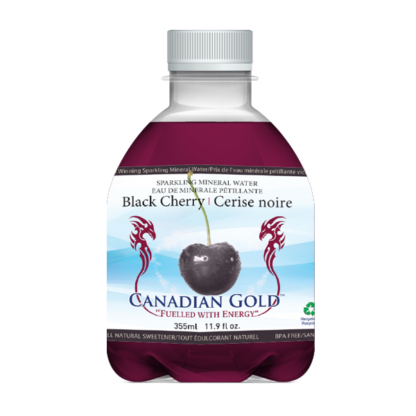 small white bottle with black cherry