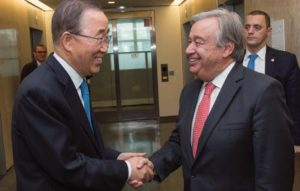 Secretary-general Ban kimoon (left) meets with António guterres,Secretarygeneral- designate 13 October 2016 , United Nations, New York UN Photo/Eskinder Debebe