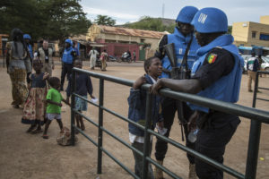 Senegalese peacekeepers in Mali with youth