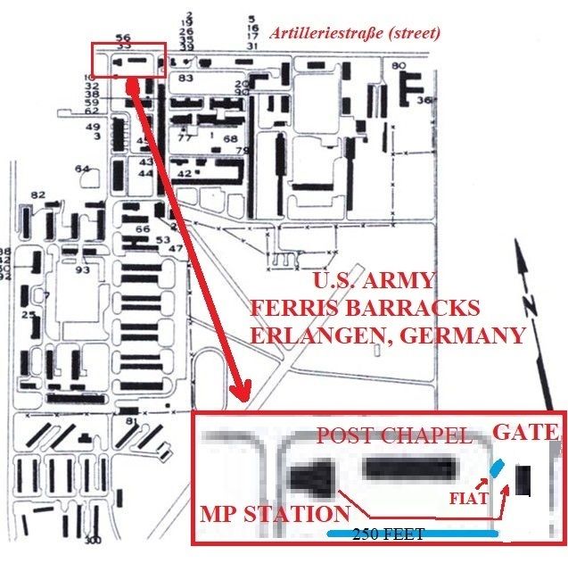 Map of Ferris Barracks, circa 1975.