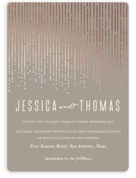 This foil press wedding invitation with gold lettering is both chic and elegant