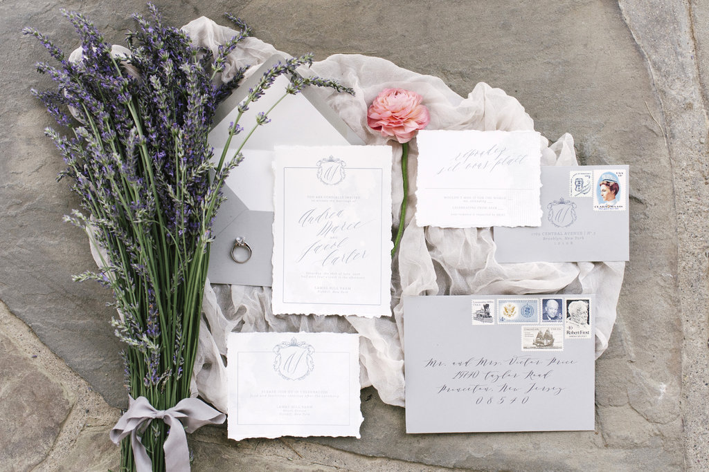 Romantic and rustic, this wedding invitation suite is perfect for an outdoor or tented affair