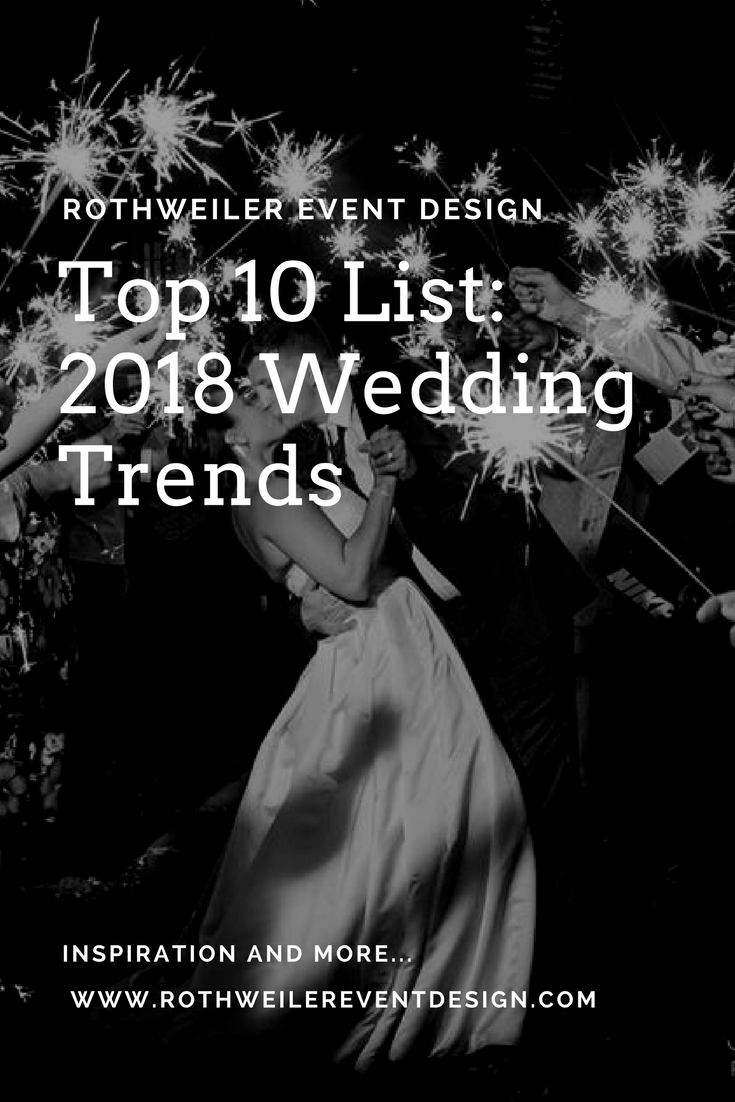 Read the blog for our top 10 list of 2018 wedding trends and pin your favorites!