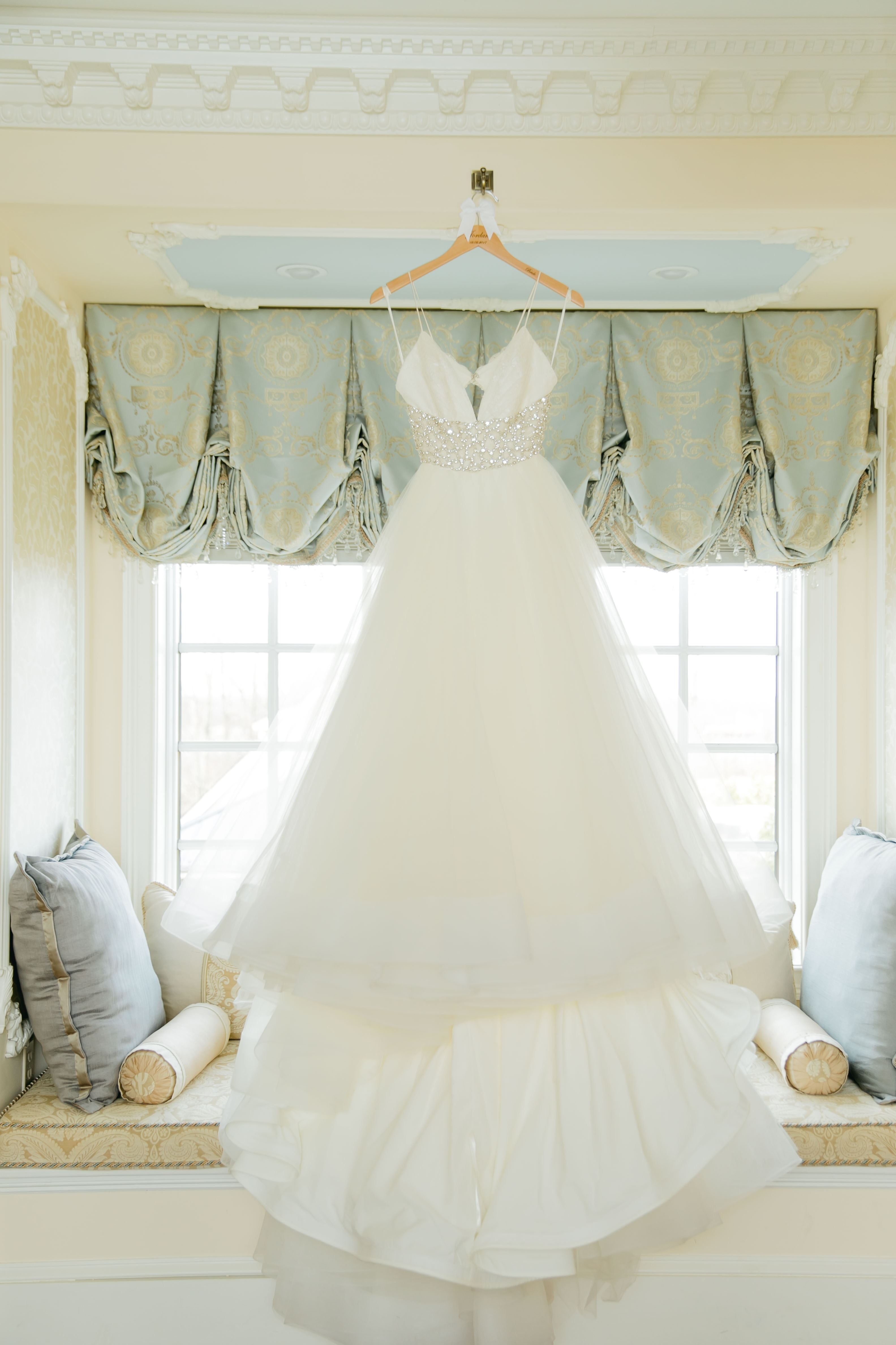 A gorgeous flowy ballgown was the perfect choice for our rustic chic winter wedding bride!