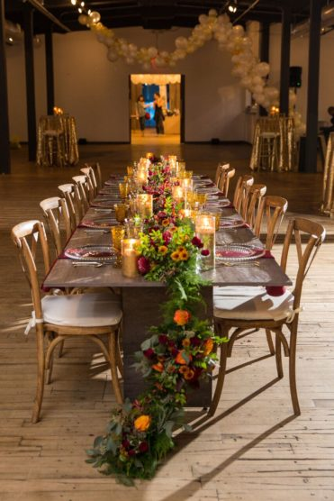 Long farmhouse table for a wedding or rehearsal dinner