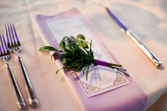 Floral place setting for a wedding