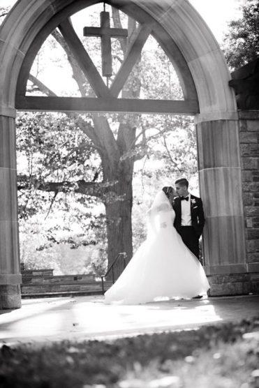 bride and groom at Villanova chapel