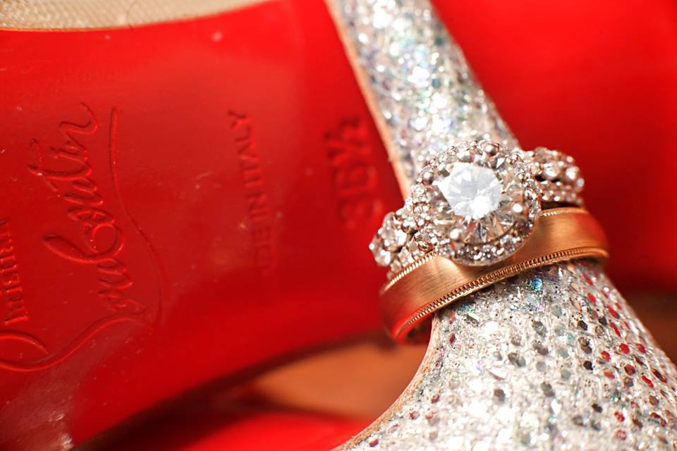 wedding bands and shoes
