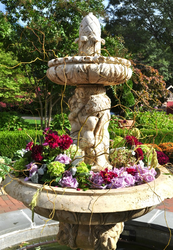 flowers in a fountain at a wedding