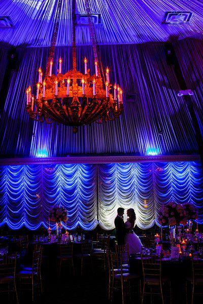 bride and groom shadow at wedding reception