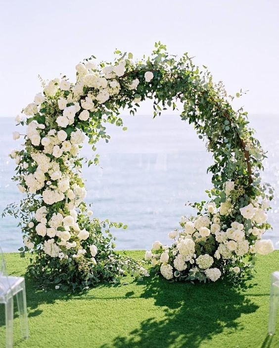 wedding ceremony circle with flowers