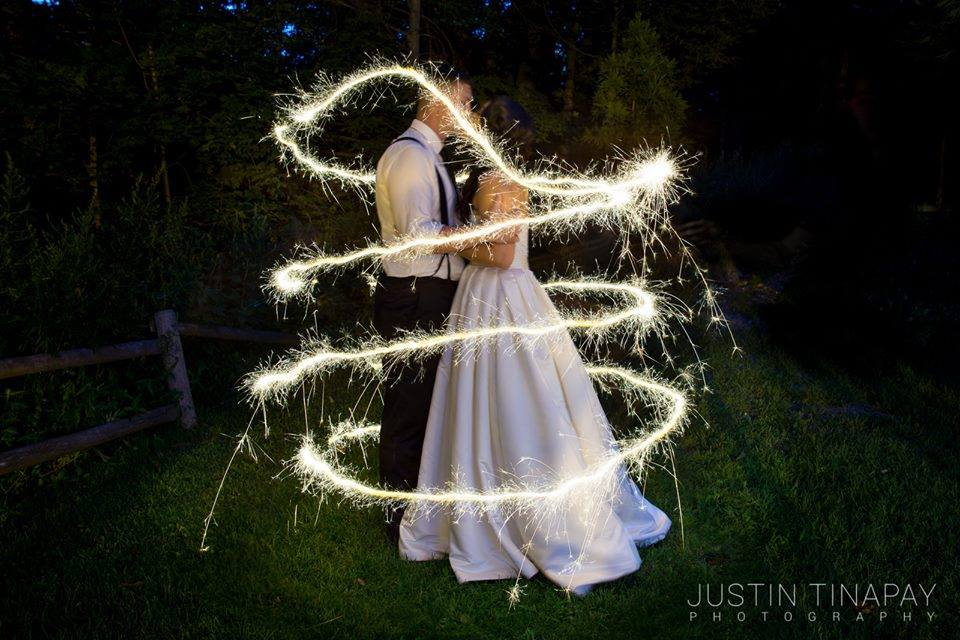 bride and groom surrounded by sparklers