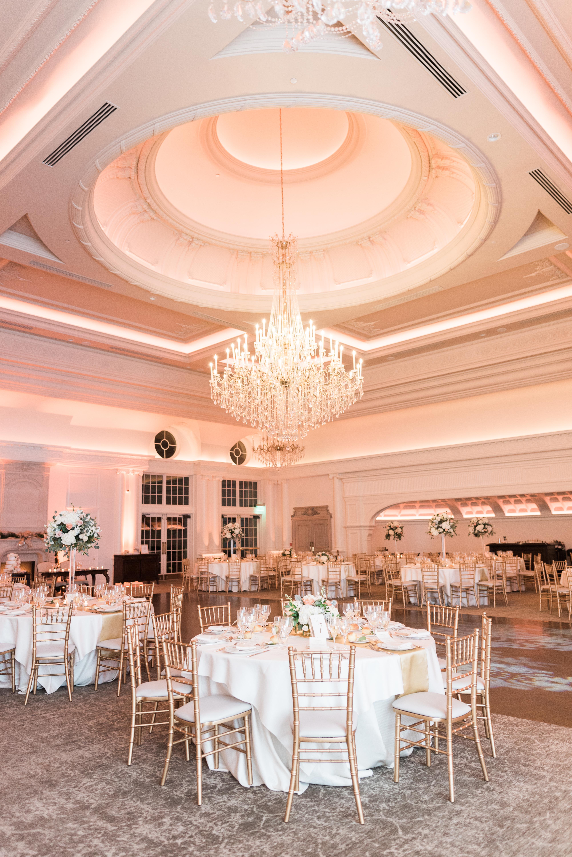 inside of wedding reception ballroom