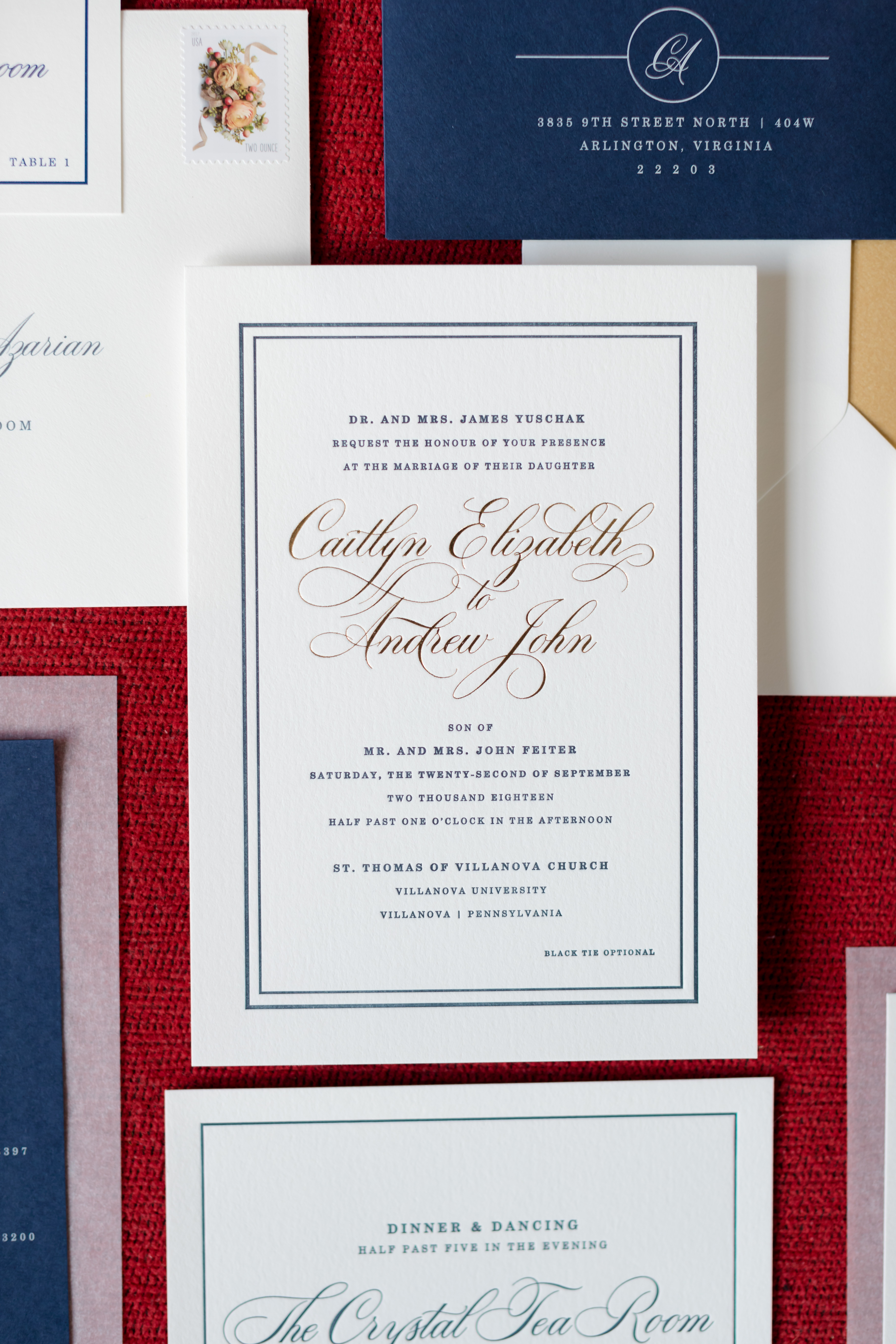 navy, gold and white modern wedding invitation suite