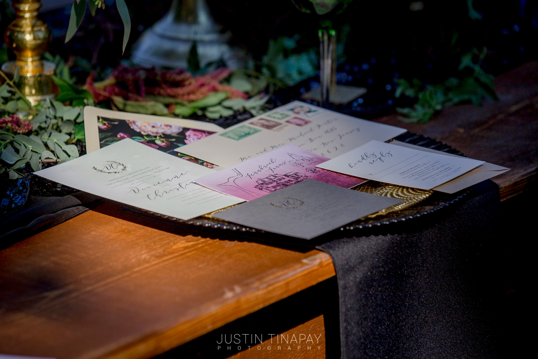pink black and gold wedding invitation suite