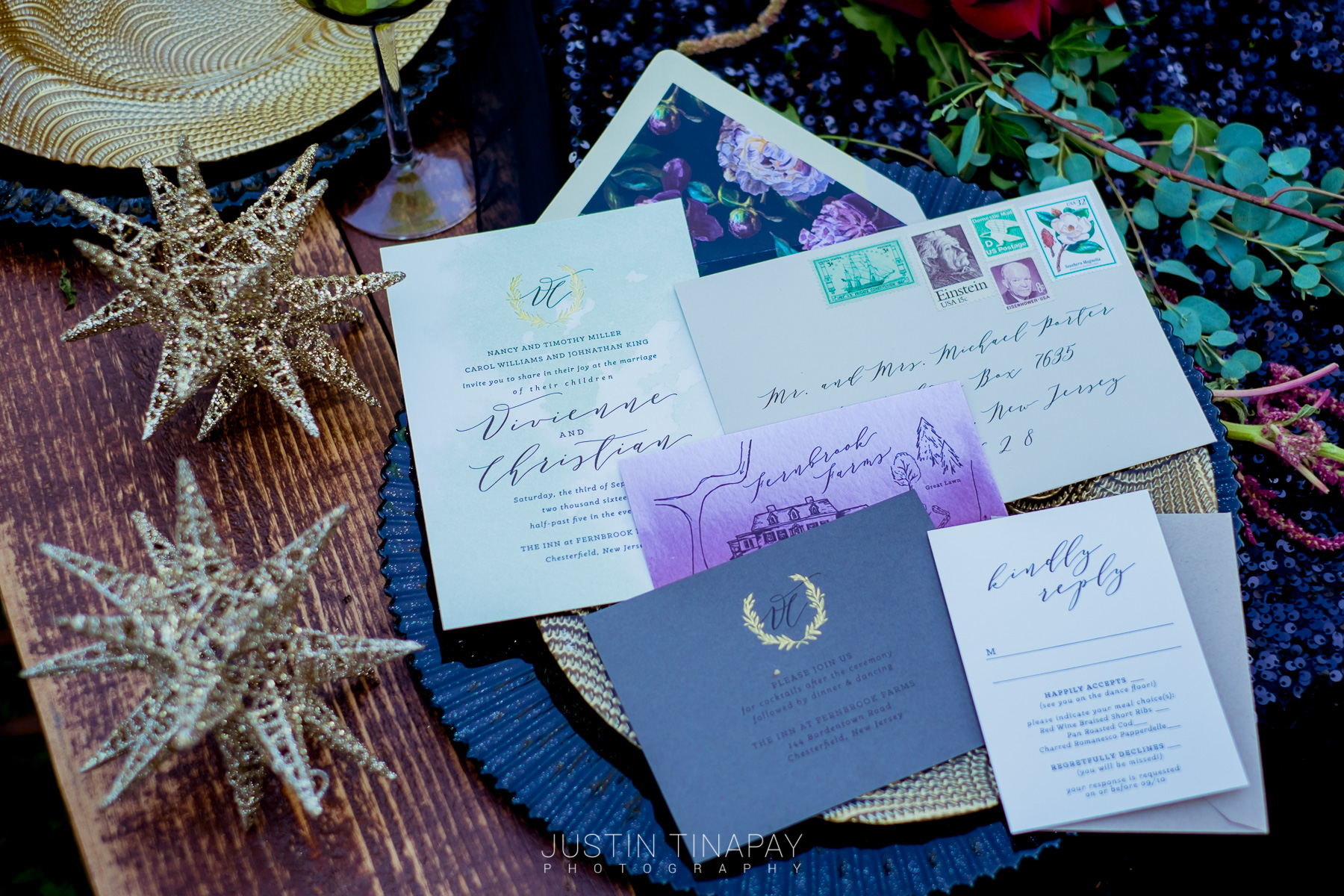 moody invitation suite with floral envelope liner