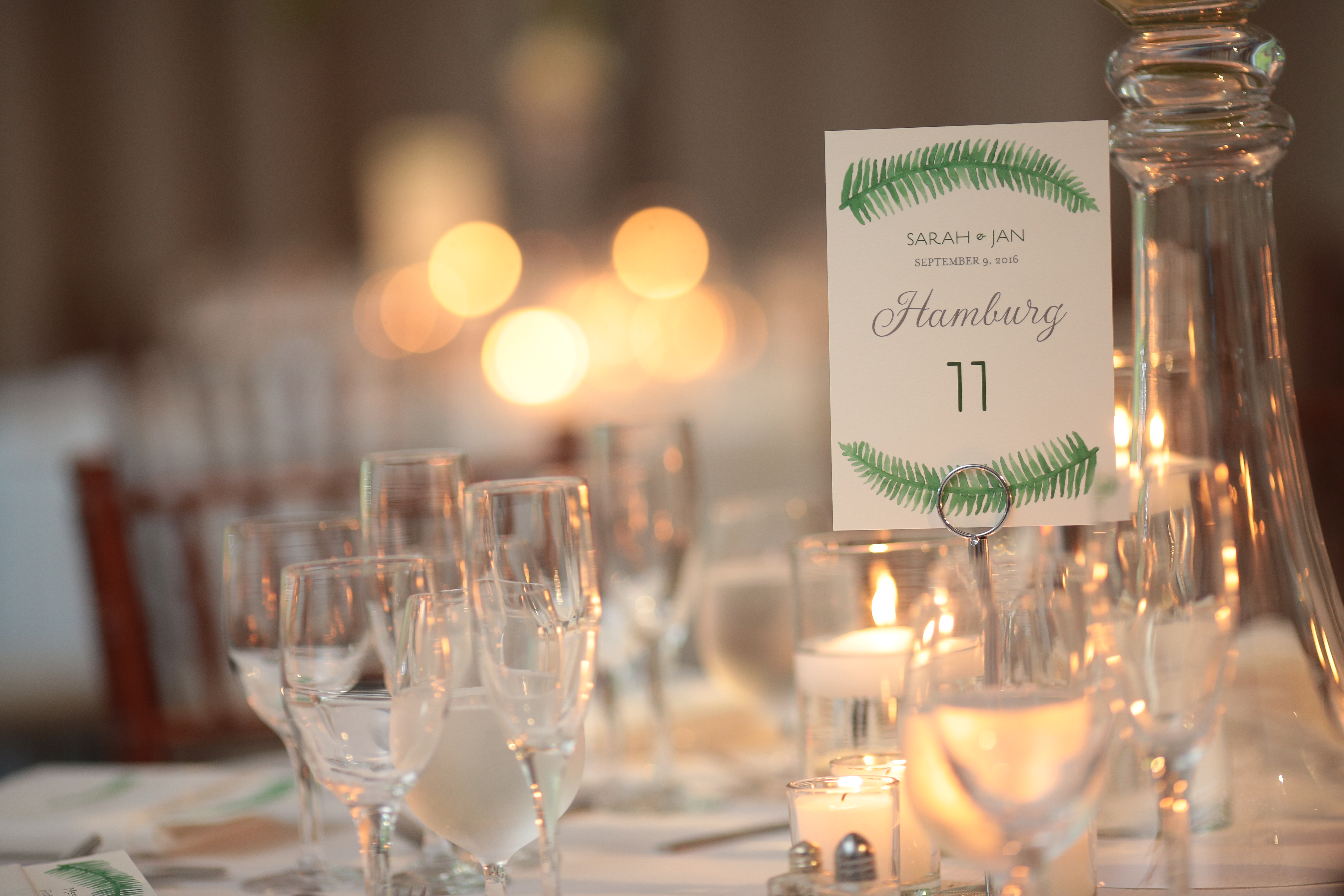 greenery style table number